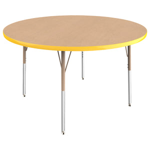 48in Round Premium Thermo-Fused Adjustable Activity Table Maple/Yellow/Sand - Standard Swivel