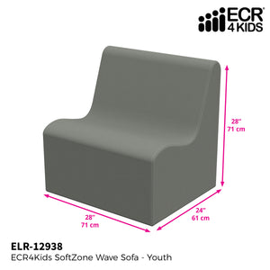 SoftZone® Wave Youth Sofa - Grey