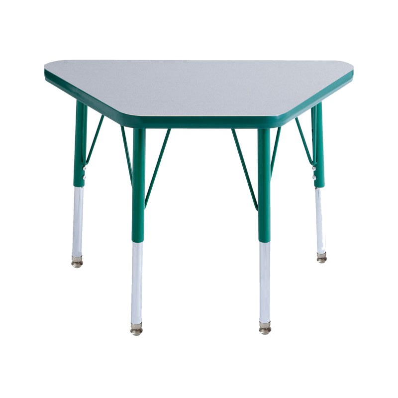 18in x 30in Trapezoid Premium Thermo-Fused Adjustable Activity Table Grey/Green/Green - Standard Swivel