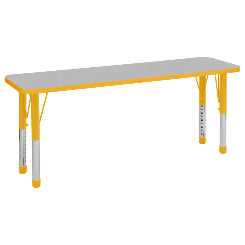 18in x 60in Rectangle Premium Thermo-Fused Adjustable Activity Table Grey/Yellow/Yellow - Chunky Leg