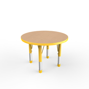 30in Round Premium Thermo-Fused Adjustable Activity Table Maple/Yellow/Yellow - Chunky Leg