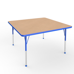 48in x 48in Square Premium Thermo-Fused Adjustable Activity Table Maple/Blue/Blue - Standard Ball