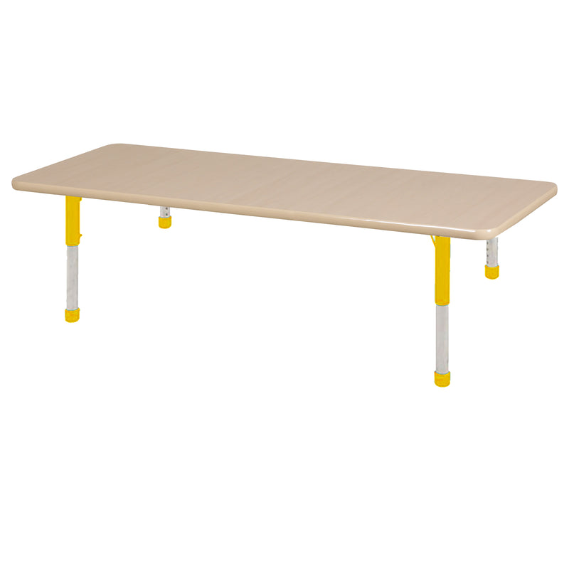36in x 72in Rectangle Premium Thermo-Fused Adjustable Activity Table Maple/Maple/Yellow - Chunky Leg