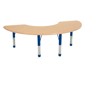 36in x 72in Half Moon Premium Thermo-Fused Adjustable Activity Table Maple/Maple/Blue - Chunky Leg