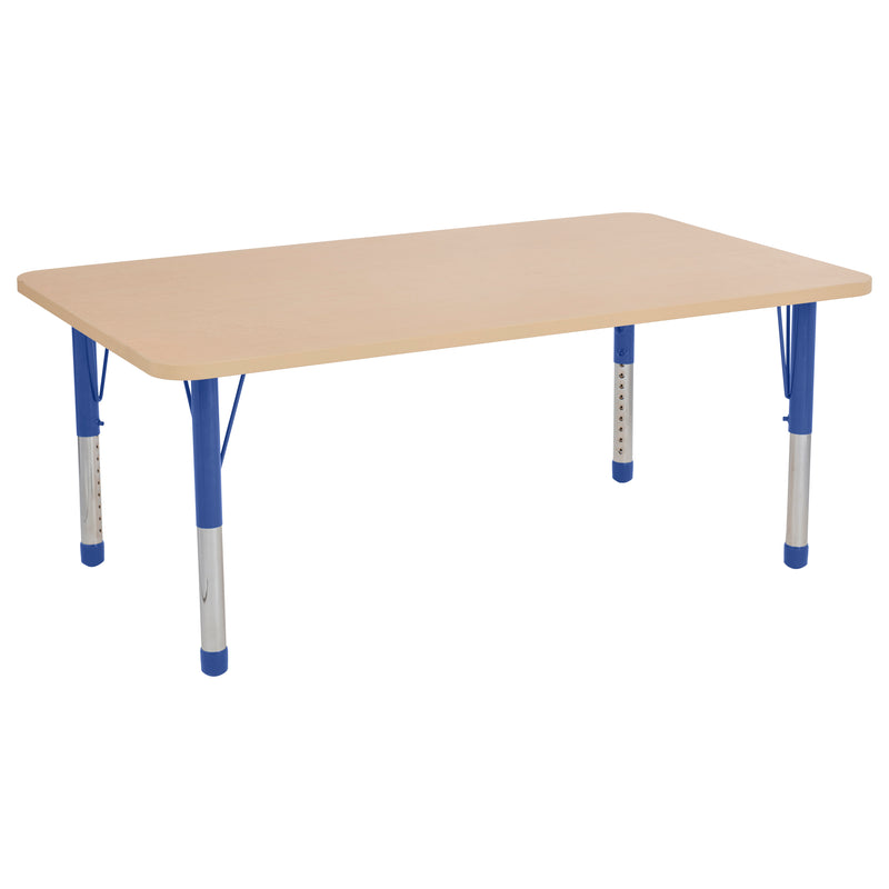 36in x 60in Rectangle Premium Thermo-Fused Adjustable Activity Table Maple/Maple/Blue - Chunky Leg