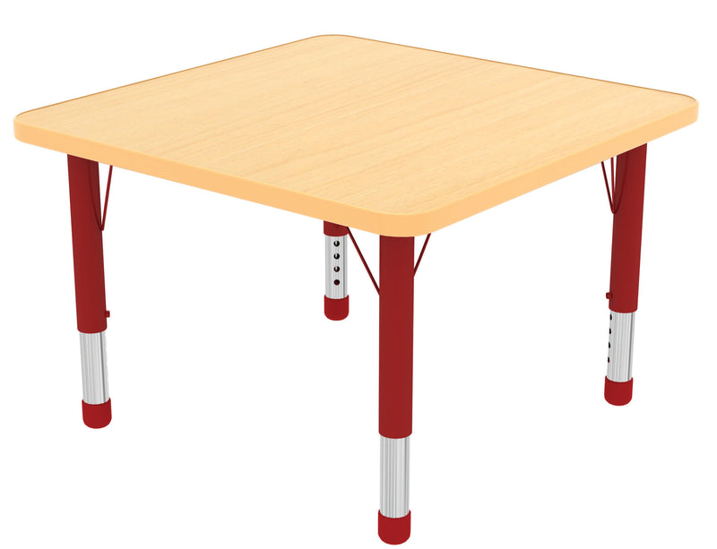 48in x 48in Square Premium Thermo-Fused Adjustable Activity Table Maple/Maple/Red - Chunky Leg