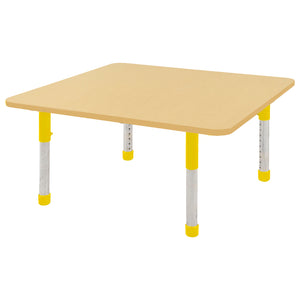 48in x 48in Square Premium Thermo-Fused Adjustable Activity Table Maple/Maple/Yellow - Chunky Leg