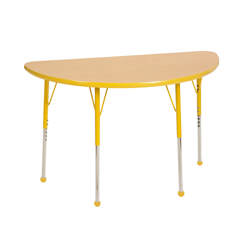 24in x 48in Half Round Premium Thermo-Fused Adjustable Activity Table Maple/Yellow/Yellow - Standard Ball