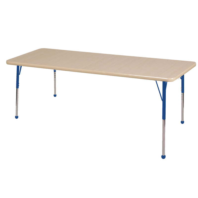 36in x 72in Rectangle Premium Thermo-Fused Adjustable Activity Table Maple/Maple/Blue - Standard Ball