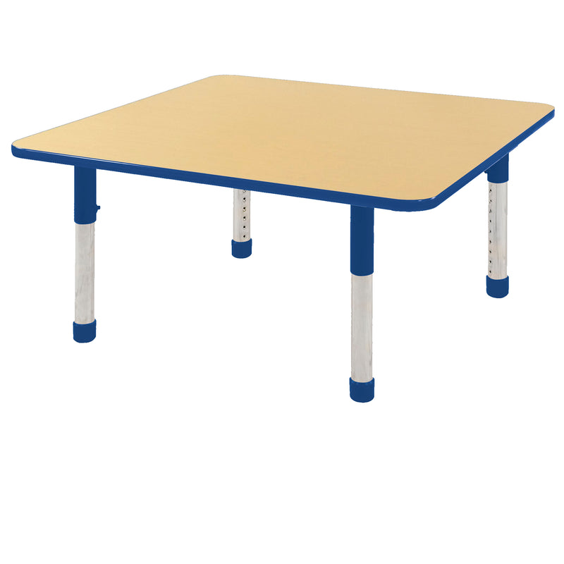 48in x 48in Square Premium Thermo-Fused Adjustable Activity Table Maple/Blue/Blue - Chunky Leg