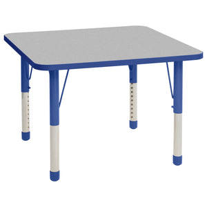 36in x 36in Square Premium Thermo-Fused Adjustable Activity Table Grey/Blue/Blue - Chunky Leg
