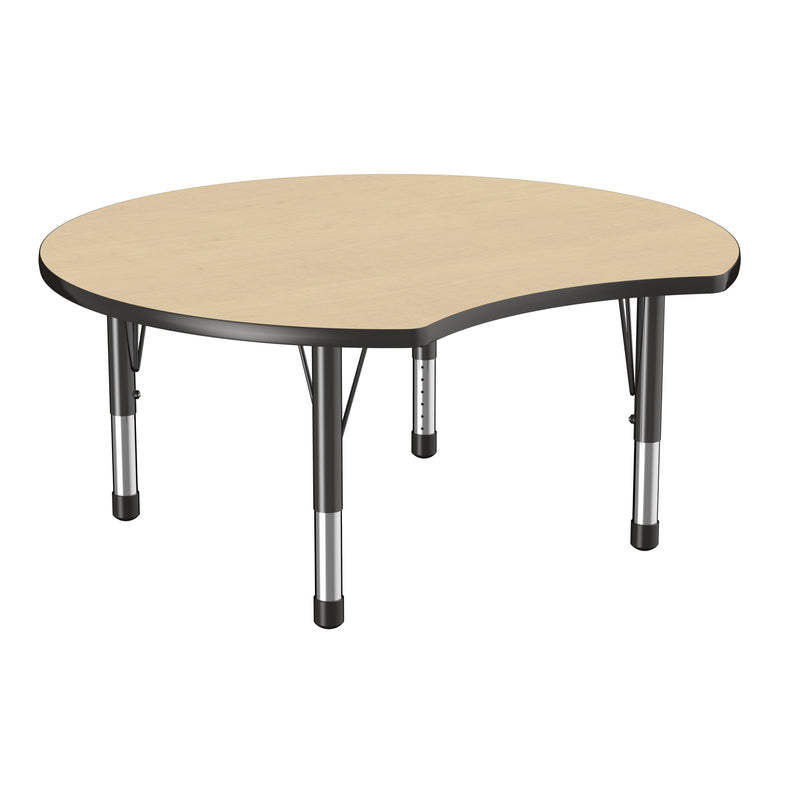 48in Crescent Premium Thermo-Fused Adjustable Activity Table Maple/Black/Black - Chunky Leg