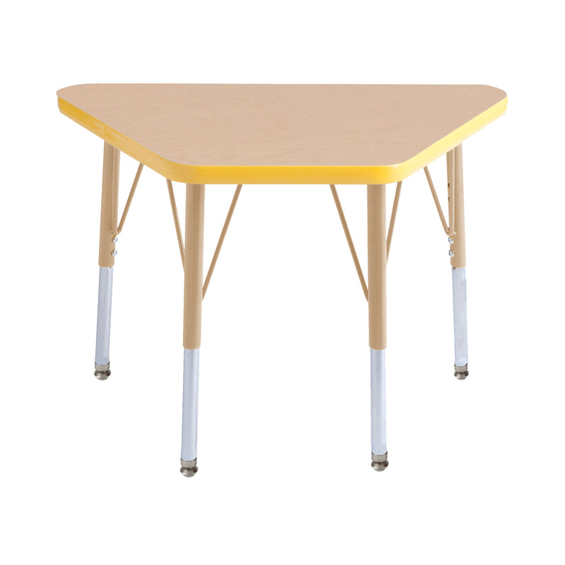 18in x 30in Trapezoid Premium Thermo-Fused Adjustable Activity Table Maple/Yellow/Sand - Standard Swivel