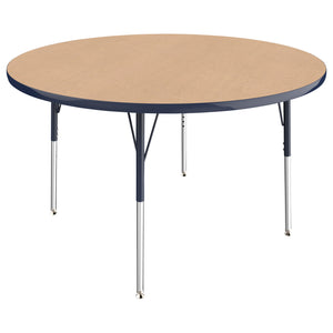 48in Round Premium Thermo-Fused Adjustable Activity Table Maple/Navy/Navy - Standard Swivel