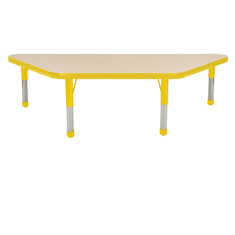 24in x 48in Trapezoid Premium Thermo-Fused Adjustable Activity Table Maple/Yellow/Yellow - Chunky Leg