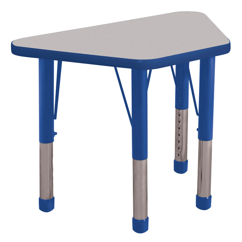 18in x 30in Trapezoid Premium Thermo-Fused Adjustable Activity Table Grey/Blue/Blue - Chunky Leg