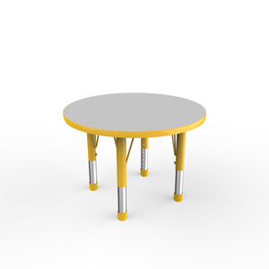 30in Round Premium Thermo-Fused Adjustable Activity Table Grey/Yellow/Yellow - Chunky Leg