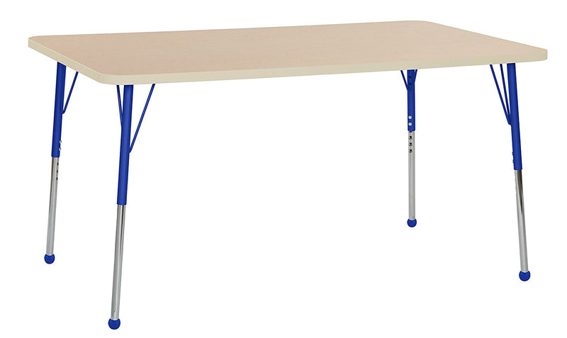 36in x 60in Rectangle Premium Thermo-Fused Adjustable Activity Table Maple/Maple/Blue - Standard Ball