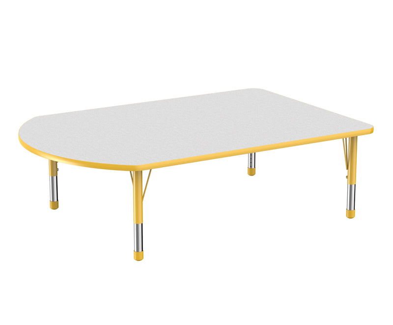 48in x 72in Work Around Premium Thermo-Fused Adjustable Activity Table Grey/Yellow/Yellow - Chunky Leg