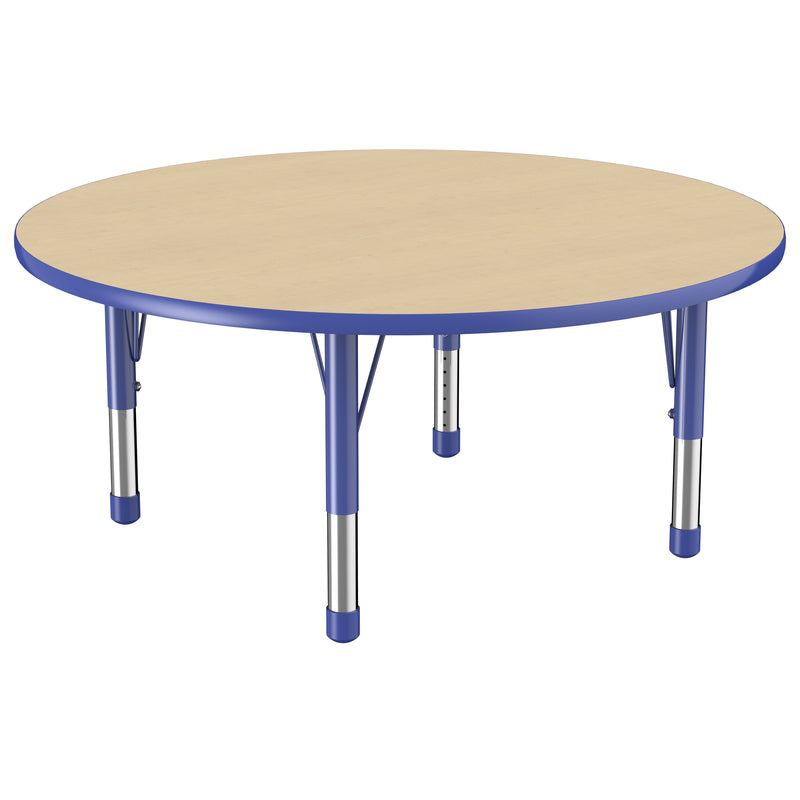 48in Round Premium Thermo-Fused Adjustable Activity Table Maple/Blue/Blue - Chunky Leg