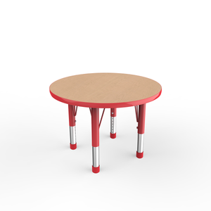 30in Round Premium Thermo-Fused Adjustable Activity Table Maple/Red/Red - Chunky Leg