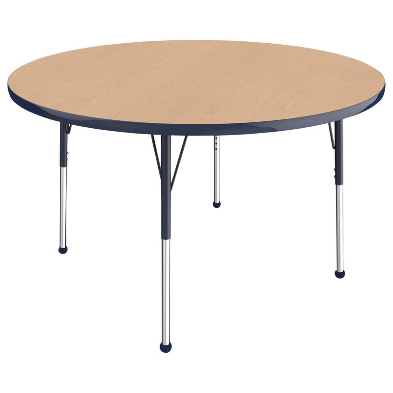 48in Round Premium Thermo-Fused Adjustable Activity Table Maple/Navy/Navy - Standard Ball