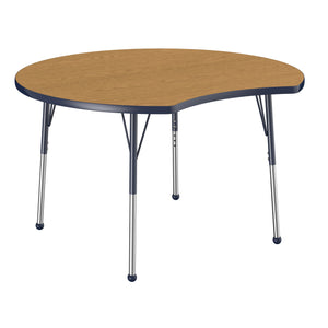 48in Crescent Premium Thermo-Fused Adjustable Activity Table Oak/Navy/Navy - Standard Ball