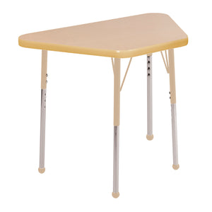 18in x 30in Trapezoid Premium Thermo-Fused Adjustable Activity Table Maple/Maple/Sand - Standard Ball