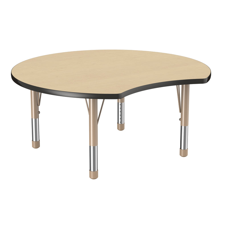 48in Crescent Premium Thermo-Fused Adjustable Activity Table Maple/Black/Sand - Chunky Leg
