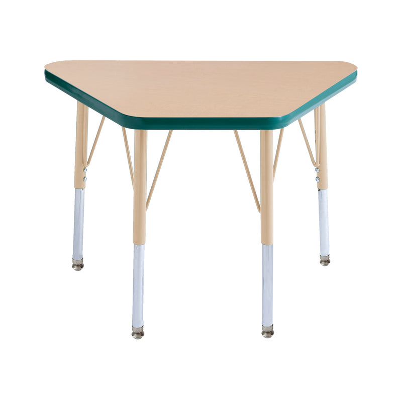 18in x 30in Trapezoid Premium Thermo-Fused Adjustable Activity Table Maple/Green/Sand - Standard Swivel