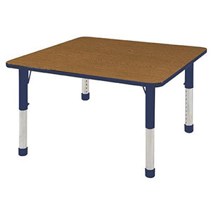 48in x 48in Square Premium Thermo-Fused Adjustable Activity Table Oak/Navy/Navy - Chunky Leg