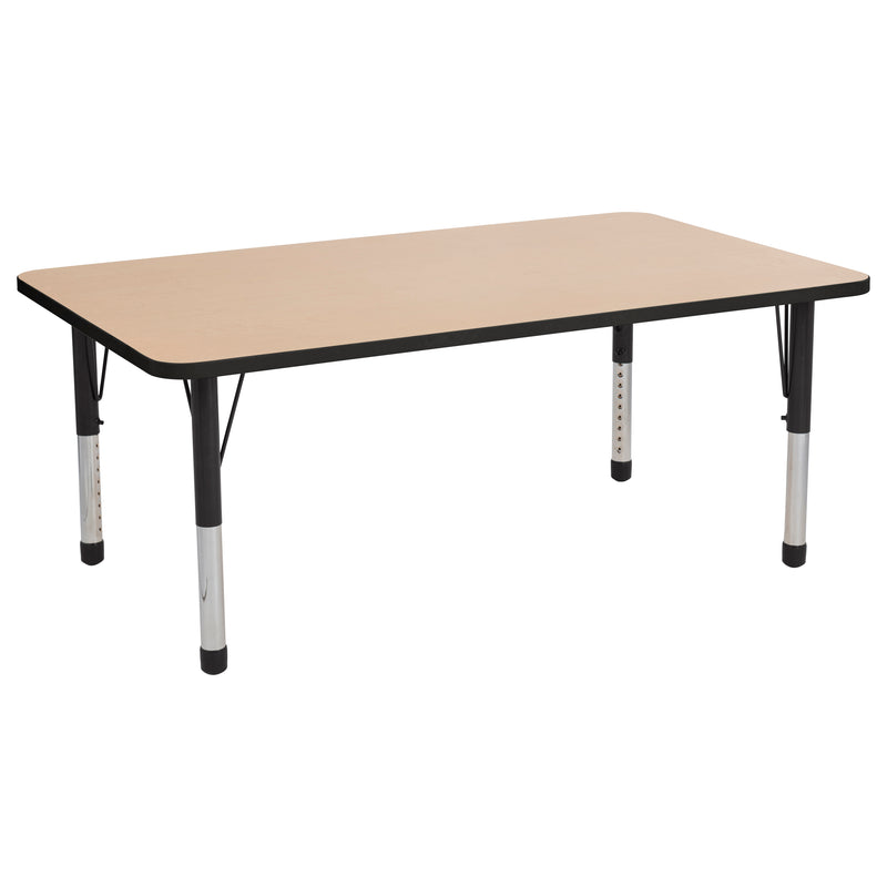 36in x 60in Rectangle Premium Thermo-Fused Adjustable Activity Table Maple/Black/Black - Chunky Leg