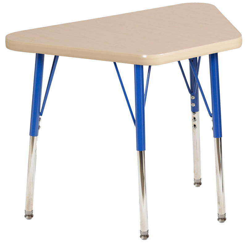 18in x 30in Trapezoid Premium Thermo-Fused Adjustable Activity Table Maple/Maple/Blue - Standard Swivel