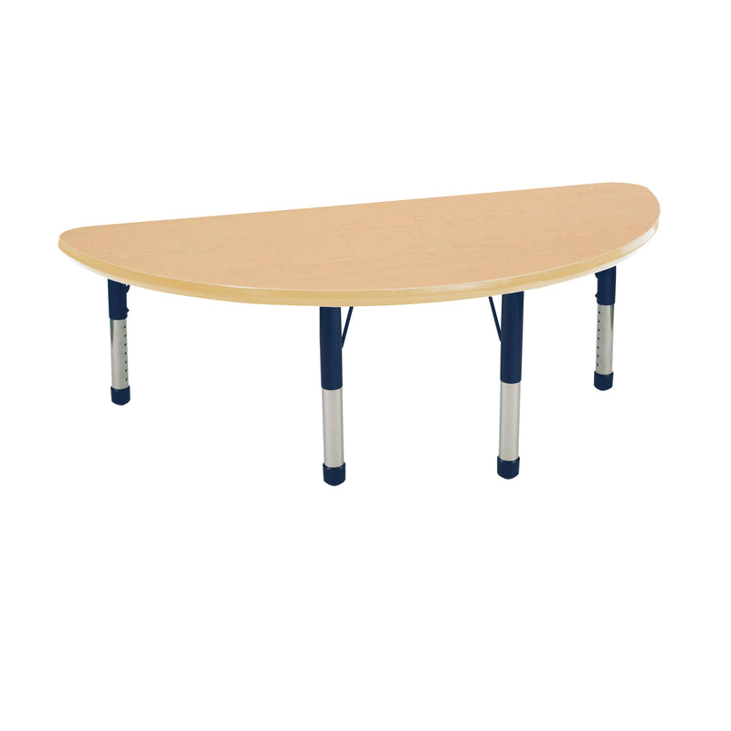 24in x 48in Half Round Premium Thermo-Fused Adjustable Activity Table Maple/Maple/Navy - Chunky Leg