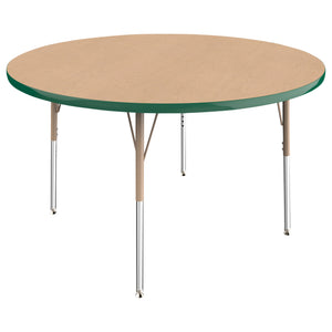 48in Round Premium Thermo-Fused Adjustable Activity Table Maple/Green/Sand - Standard Swivel