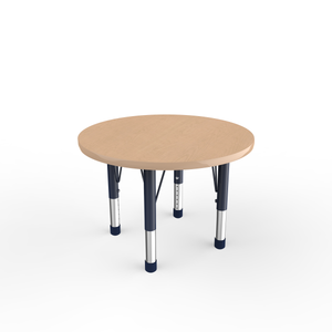 30in Round Premium Thermo-Fused Adjustable Activity Table Maple/Maple/Navy - Chunky Leg