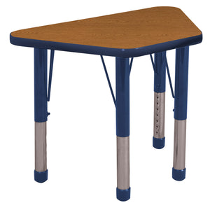 18in x 30in Trapezoid Premium Thermo-Fused Adjustable Activity Table Oak/Navy/Navy - Chunky Leg