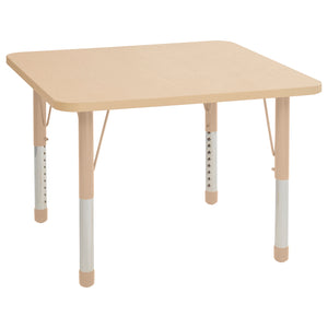 36in x 36in Square Premium Thermo-Fused Adjustable Activity Table Maple/Maple/Sand - Chunky Leg