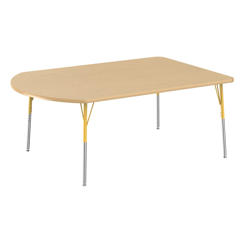 48in x 72in Work Around Premium Thermo-Fused Adjustable Activity Table Maple/Maple/Yellow - Standard Swivel