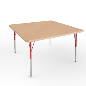 48in x 48in Square Premium Thermo-Fused Adjustable Activity Table Maple/Maple/Red - Standard Swivel