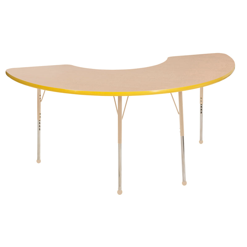 36in x 72in Half Moon Premium Thermo-Fused Adjustable Activity Table Maple/Yellow/Sand - Standard Ball