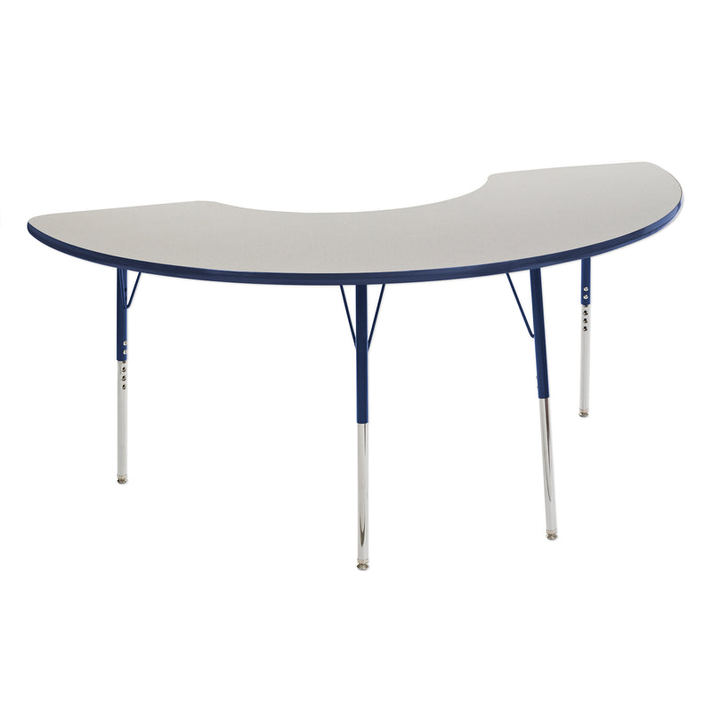 36in x 72in Half Moon Premium Thermo-Fused Adjustable Activity Table Grey/Navy/Navy - Standard Swivel