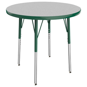 30in Round Premium Thermo-Fused Adjustable Activity Table Grey/Green/Green - Standard Swivel