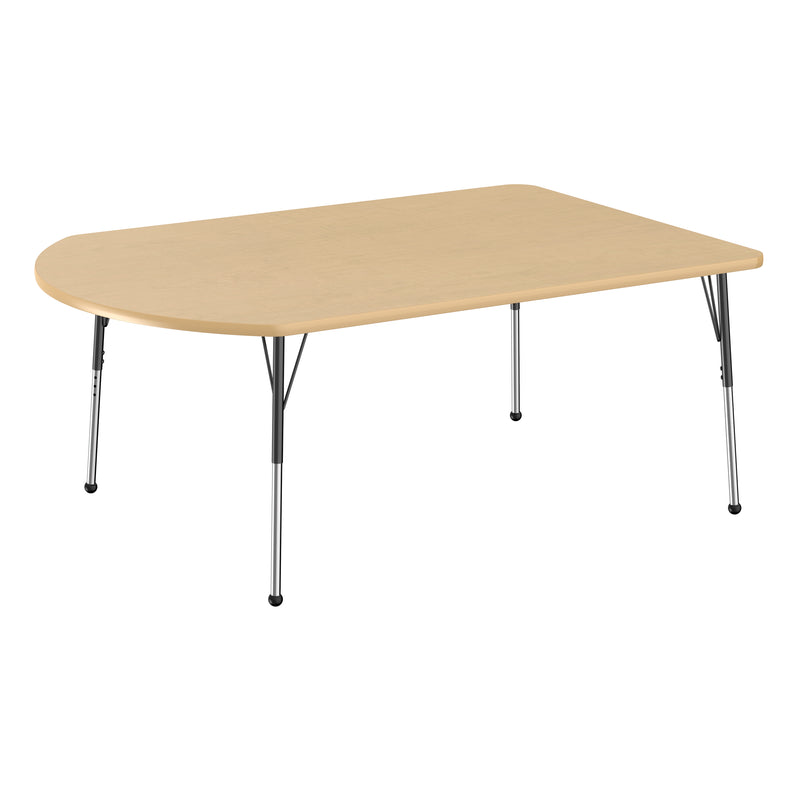 48in x 72in Work Around Premium Thermo-Fused Adjustable Activity Table Maple/Maple/Black - Standard Ball