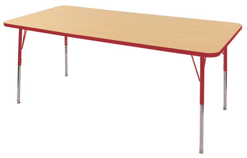 36in x 72in Rectangle Premium Thermo-Fused Adjustable Activity Table Maple/Red/Red - Standard Swivel