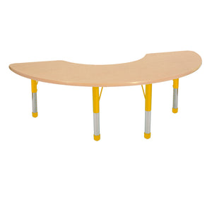 36in x 72in Half Moon Premium Thermo-Fused Adjustable Activity Table Maple/Maple/Yellow - Chunky Leg