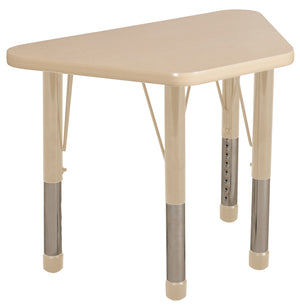 18in x 30in Trapezoid Premium Thermo-Fused Adjustable Activity Table Maple/Maple/Sand - Chunky Leg