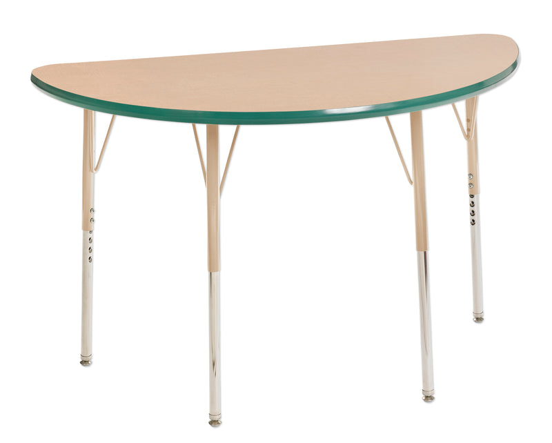 24in x 48in Half Round Premium Thermo-Fused Adjustable Activity Table Maple/Green/Sand - Standard Swivel