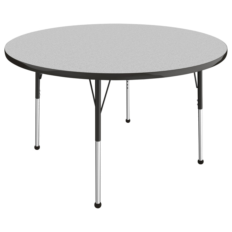 48in Round Premium Thermo-Fused Adjustable Activity Table Grey/Black/Black - Standard Ball