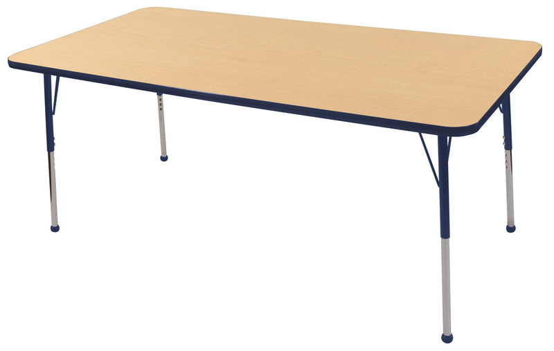 36in x 72in Rectangle Premium Thermo-Fused Adjustable Activity Table Maple/Navy/Navy - Standard Ball